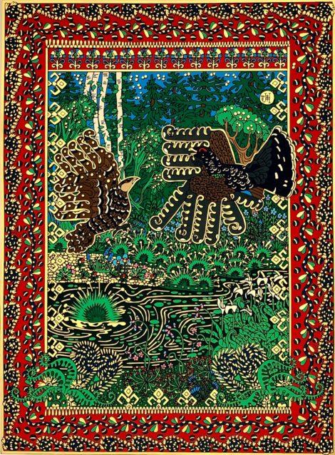 Umělecký tisk barvami a zlatou fólií